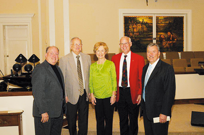 Anne Harrell was joined by four of the eight Ministers of Music with whom she has served over the past 40 years (Feb. 1973-Feb. 2013) Steve Williams (1992-2002), Harold Benge (1975-1980), Joe Neihardt (1974-1976), and David Willard (2009 to present). First Baptist Church, Sylvester, honored her with a church/community reception on Feb. 17, presenting her with appropriate tributes for her faithful ministry, which she continues to provide as church pianist. Mrs. Harrell, along with former organist, Donna Mallory, and present organist, June Carter, presented a concert of keyboard duets and trios prior to the reception.