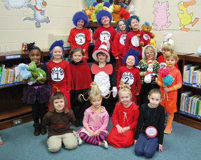 """Students at Worth Primary take a minute of our their day to sing """"Happy Birthday"""" to the beloved Dr. Seuss."""