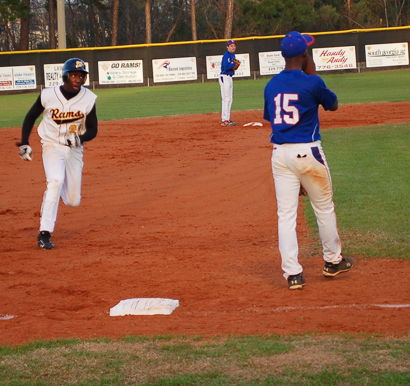 Junior Quantavious Sweeney rounds third to score the go ahead run for the Rams in the second inning Tuesday against Turner County. Unfortunately, Worth would give up the lead in the seventh inning and fall by two points to the Rebels.