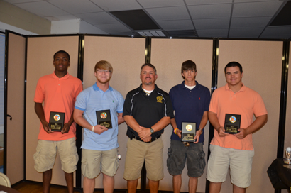 Worth County Baseball (Graduated) Seniors Thomas Ausby, Eli Reddell, Coach Will Smith, Tanner Watkins, and Chance Bennett received their Senior Plaque during the 2013 Baseball Banquet on June 17, 2013.