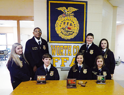 WCMS  FFA Officers standing are Allyssa Rogers, Reporter; Marquez Hope, Treasurer; Luke Cooper, Chaplain and Lyla Griffin, Sentinel; seated is Austin Haralson, Vice President; Day Story, President and Nicole Plaster, Secretary.
