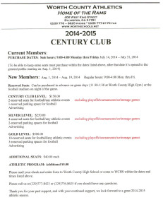 Century Club Tickets On Sale Now