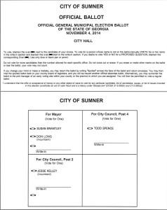Town of Sumner Sample Ballot