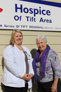 Pictured from left to right in the photo: Christie Moore, Director of Hospice of Tift Area,  and Dianne Cowart.