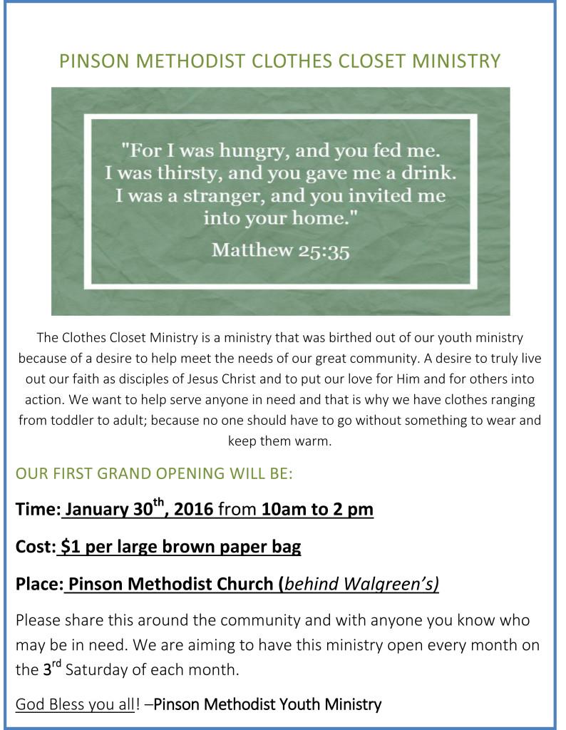 Pinson Methodist Clothes Closet Ministry