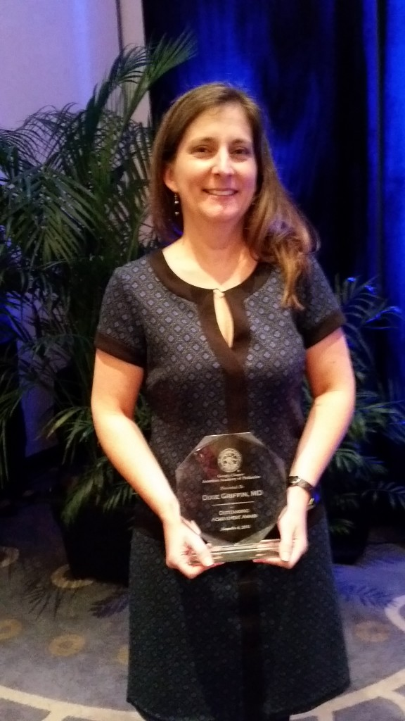 Dixie Griffin, MD, received the Outstanding Achievement Award from the Georgia American Academy of Pediatrics for her contributions to the Asthma Chapter Quality Network (CQN) Project and QI training with the Cincinnati Children's Hospital in 2015. Griffin is a pediatrician and practices at Affinity Pediatrics in Tifton.