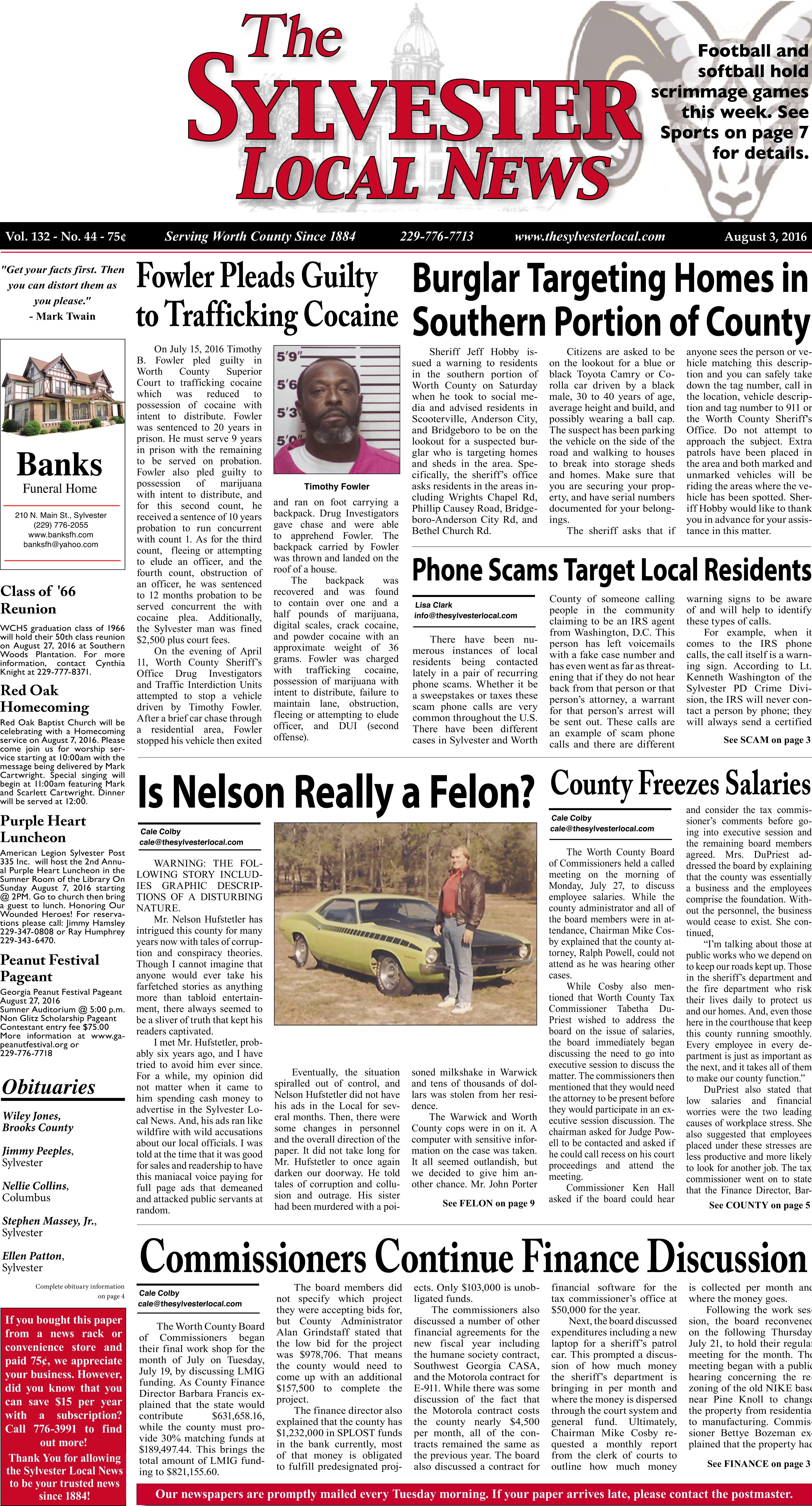 YOUR FRONT PAGE (August 3, 2016)